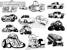 多款黑白卡通汽车图案