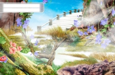 梦幻仙境PSD分层素材 卡通仙境图片素材 仙境PSD分层模板.