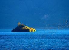 泸沽湖 孤岛 群鸟图片