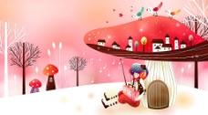 蘑菇童话图片