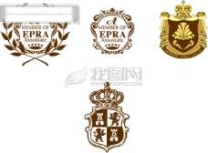 非常精致的欧洲徽标 徽标 盾牌 花纹 皇冠 其他矢量 矢量素材 经典矢量元素 矢量图库 矢量元素