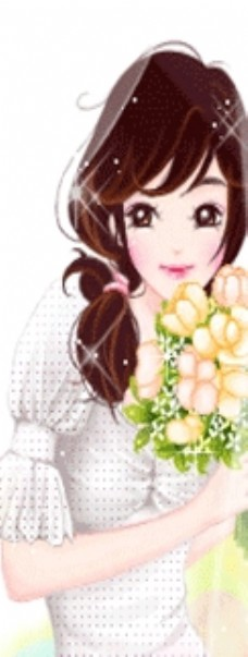 手拿花的美女图片