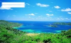 碧海银沙椰林树影图片