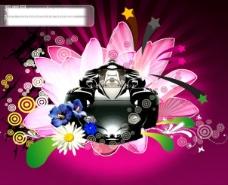 缤纷花纹与跑车PSD素材 跑车 汽车 缤纷花朵 花纹 星形 潮流设计