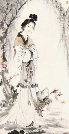 风景色彩画图片,水彩喷画 流水 树木 山 人物 竹排-图