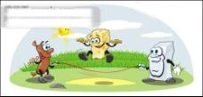 一款跳绳场景卡通矢量素材