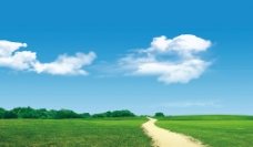 小路和天空图片