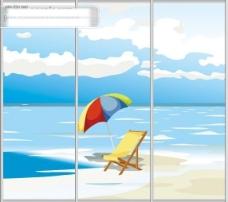 沙滩风景流玻璃移门图片大全_编号SK023