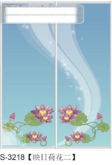映日荷花二玻璃移门图片大全_编号S3218