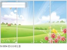 初春蝶恋玻璃移门图片大全_编号S3204