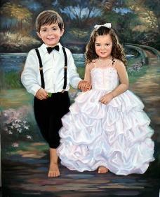 油画男孩和女孩图片