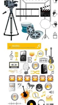电影音乐图标与道具图片