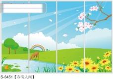 春满人间玻璃移门图片大全_编号S3451