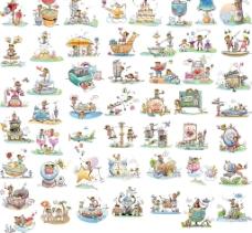 手繪風格插畫50張全圖片
