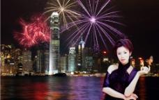 美女与都市焰火夜景图片