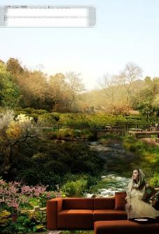 地产创意设计平面广告PSD分层模板 溪流 沙发 美女 山林 地产图片素材 房地产海报