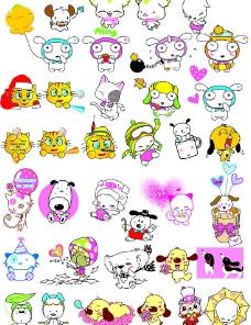 卡通小猫与小狗图片图片