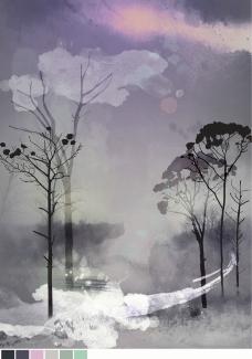 晚霞与树图片