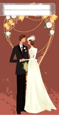 简约金属藤蔓心 矢量美丽的婚纱新娘新郎图