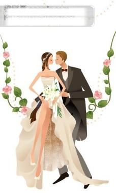 美丽 矢量美丽的婚纱新娘、新郎图