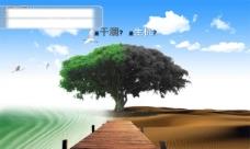 创意环保公益海报PSD分层素材 湖水 沙漠 蓝天白云 大树 公益广告PSD模板