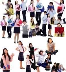 男孩女孩学生图片