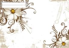 野菊花和时尚花纹矢量素材 eps格式 矢量野菊花 时尚花纹 圆形 墨痕 怀旧风格背景 矢量素材